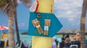 Signe des Caraïbes de toilettes photos stock