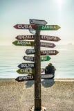 Signe des destinations de voyage avec des kilomètres de la distance Image libre de droits