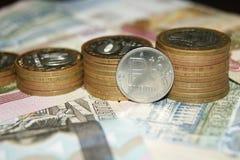 Signe des pièces de monnaie de rouble photo stock