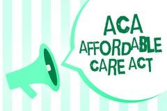 Signe des textes montrant à ACA l'acte abordable de soin Photo conceptuelle fournissant le traitement bon marché au patient louds illustration de vecteur