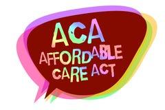 Signe des textes montrant à ACA l'acte abordable de soin Photo conceptuelle fournissant le traitement bon marché au patient la pa illustration libre de droits