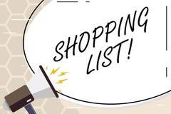 Signe des textes montrant à liste d'achats les épiceries conceptuelles de produits de photo que vous devez acheter la liste de co photo stock