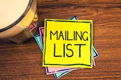 Signe des textes montrant à liste d'adresses des noms et adresse conceptuels de photos des personnes vous allez envoyer quelque c photographie stock libre de droits
