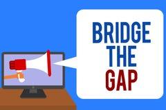 Signe des textes montrant à pont Gap La photo conceptuelle surmontent l'homme d'habilitation de courage de défi d'obstacles jugea illustration libre de droits
