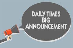 Signe des textes montrant à Daily Times la grande annonce Photo conceptuelle intentant des actions rapidement utilisant le site W illustration stock