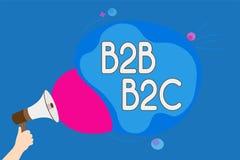 Signe des textes montrant B2B B2C Les types conceptuels de la photo deux pour envoyer des emails à d'autres comptes d'Outlook de  Image libre de droits