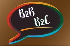 Signe des textes montrant B2B B2C Types conceptuels de la photo deux pour envoyer des emails à l'autre messa d'idée de bulle de l Image stock