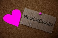 Signe des textes montrant Blockchain Vieux paperbo endommagé de photo de s'inscrire de rondin de relevé de compte financier de do photographie stock