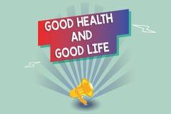 Signe des textes montrant des bonnes santés et la bonne vie La santé conceptuelle de photo est une ressource pour vivre une plein illustration stock