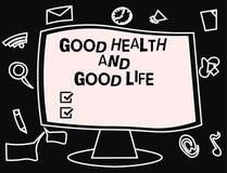 Signe des textes montrant des bonnes santés et la bonne vie La santé conceptuelle de photo est une ressource pour vivre une plein illustration libre de droits