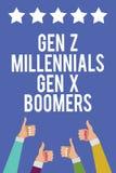 Signe des textes montrant des boomers de GEN Z Millennials Gen X Les vieilles femmes d'hommes des jeunes de différences de genera illustration stock