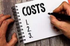 Signe des textes montrant des coûts La quantité conceptuelle de dépense de photo qui doit être épuisée payé à acheter obtiennent  photographie stock libre de droits