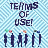 Signe des textes montrant des conditions d'utilisation La photo conceptuelle a établi des conditions pour l'usage de quelque chos illustration libre de droits