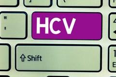 Signe des textes montrant Hcv Agent infectieux de photo conceptuelle qui causent l'inflammation du viral infection de foie photos libres de droits