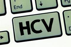 Signe des textes montrant Hcv Agent infectieux de photo conceptuelle qui causent l'inflammation du viral infection de foie images libres de droits