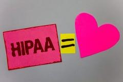 Signe des textes montrant Hipaa La portabilité d'assurance médicale maladie de photo et la loi conceptuelles de soins de santé de Photos libres de droits