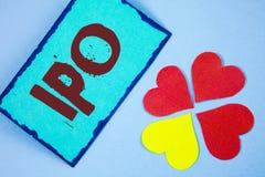 Signe des textes montrant Ipo Des actions initiales de première fois d'appel public à l'épargne de photo conceptuelle de la socié Image libre de droits