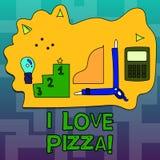 Signe des textes montrant j'aime la pizza Photo conceptuelle pour aimer la nourriture beaucoup italienne avec des pepperoni de ja illustration stock