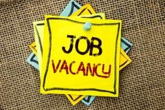 Signe des textes montrant Job Vacancy Le travail de location de recrue d'emploi de photo de travail de position vide conceptuelle image stock