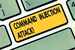 Signe des textes montrant l'attaque d'injection de Comanalysisd Exécution conceptuelle de photo des comanalysisds arbitraires sur illustration libre de droits