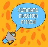 Signe des textes montrant l'attaque d'injection de Comanalysisd Exécution conceptuelle de photo des comanalysisds arbitraires sur illustration stock