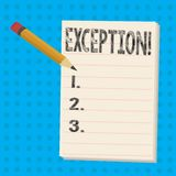 Signe des textes montrant l'exception Personne conceptuelle ou chose de photo qui sont exclues du crayon différent de déclaration illustration libre de droits