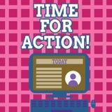 Signe des textes montrant l'heure pour l'action Travail conceptuel de défi d'encouragement de mouvement d'urgence de photo illustration stock