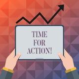 Signe des textes montrant l'heure pour l'action Travail conceptuel de défi d'encouragement de mouvement d'urgence de photo illustration de vecteur