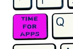 Signe des textes montrant l'heure pour Apps Photo conceptuelle le meilleur service complet que les aides communiquent plus rapide images libres de droits