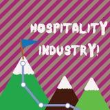 Signe des textes montrant l'industrie d'hospitalité Foyer conceptuel de photo sur l'hôtel et les montagnes de l'industrie hôte illustration de vecteur