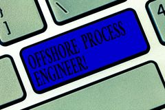 Signe des textes montrant l'ingénieur des méthodes en mer Photo conceptuelle responsable de la clé de pétrole et de clavier de pr photo stock