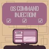 Signe des textes montrant l'injection d'OS Comanalysisd Technique conceptuelle d'attaque de photo utilisée pour l'exécution illég illustration de vecteur