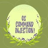 Signe des textes montrant l'injection d'OS Comanalysisd Technique conceptuelle d'attaque de photo utilisée pour l'exécution illég illustration stock