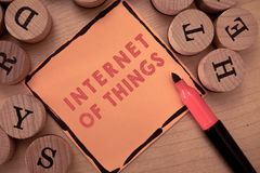 Signe des textes montrant l'Internet des choses Connexion conceptuelle de photo des dispositifs au filet aux données d'émission-r images stock
