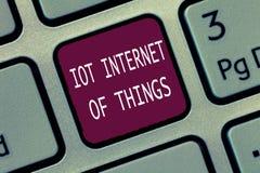 Signe des textes montrant l'Internet d'Iot des choses Le réseau conceptuel de photo des dispositifs physiques envoient et reçoive photographie stock libre de droits