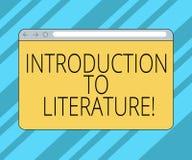 Signe des textes montrant l'introduction à la littérature Écran de moniteur préparatoire de cours de composition en photo concept illustration libre de droits