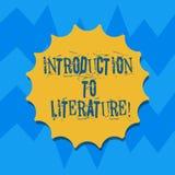 Signe des textes montrant l'introduction à la littérature Joint préparatoire de blanc de cours de composition en photo conceptuel illustration stock