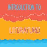 Signe des textes montrant l'introduction à la littérature Vague tramée en photo de cours préparatoire conceptuel de composition e illustration stock