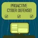 Signe des textes montrant la défense proactive de Cyber Anticipation conceptuelle de photo pour s'opposer à une attaque impliquan illustration libre de droits