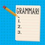 Signe des textes montrant la grammaire Le système de photo et la structure conceptuels des règles d'écriture de langue crayonnent illustration stock