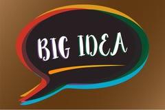 Signe des textes montrant la grande idée Photo conceptuelle ayant la grande solution d'innovation ou bulle créative de la parole  illustration stock