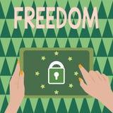 Signe des textes montrant la liberté L'acte conceptuel de puissance ou de droit de photo parlent ou pensent pendant qu'on veut l' illustration de vecteur