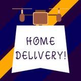 Signe des textes montrant la livraison à domicile Acte conceptuel de photo de prendre les marchandises ou le colis directement au illustration stock