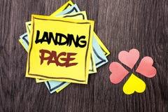 Signe des textes montrant la page d'atterrissage Le site Web conceptuel de photo a accédé en cliquant sur un lien sur une autre p Image libre de droits