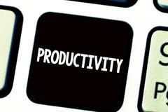 Signe des textes montrant la productivité État de photo ou qualité conceptuel d'être succès productif d'efficacité image libre de droits