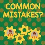 Signe des textes montrant la question d'erreurs communes Acte conceptuel de r?p?tition de photo ou affaires mal orient?es deux ou illustration libre de droits