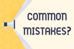 Signe des textes montrant la question d'erreurs communes Acte conceptuel de répétition de photo ou mégaphone mal orienté ou faux  illustration de vecteur
