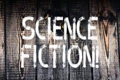 Signe des textes montrant la science-fiction Aventures fantastiques futuristes de photo d'imagination de genre conceptuel de dive image libre de droits
