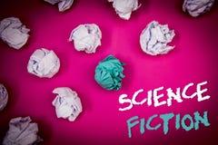 Signe des textes montrant la science-fiction Bleu blanc l de photo d'imagination de divertissement de genre d'idées fantastiques  photographie stock