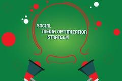 Signe des textes montrant la stratégie d'optimisation sociale de médias Stratégies conceptuelles deux de SEO Advertising Marketin illustration de vecteur
